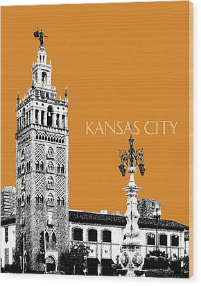 Kansas City Skyline 2 - Dark Orange Wood Print by DB Artist