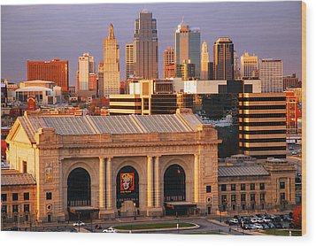 Kansas City Skyline Wood Print by James Kirkikis