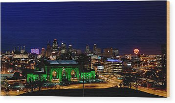 Kansas City Skyline Wood Print by Sennie Pierson