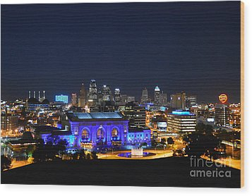 Kansas City Union Station In Blue  Wood Print by Catherine Sherman