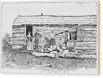 Kansas Early House, 1854 Wood Print by Granger