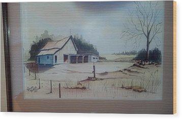 Kansas Farm Wood Print by Richard Benson