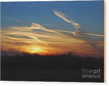 Kansas November Sunset Wood Print