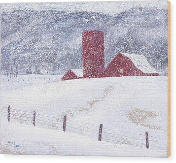 Kansas Snow Storm Wood Print by Garry McMichael