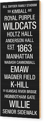 Kansas State College Town Wall Art Wood Print by Replay Photos