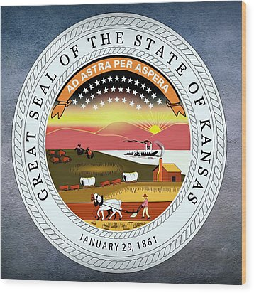 Kansas State Seal Wood Print by Movie Poster Prints