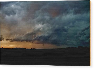 Wood Print featuring the photograph Kansas Tornado At Sunset by Ed Sweeney