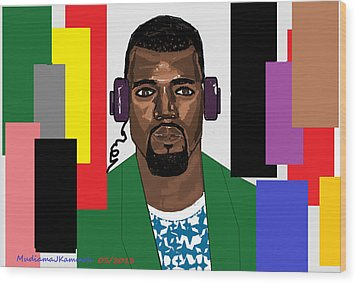 Kanye West- Music Not Skin Colours Wood Print by Mudiama Kammoh
