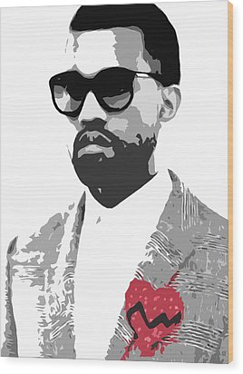 Kanye West Wood Print by Mike Maher