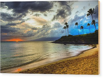 Kapalua Bay Sunset Wood Print by Kelly Wade
