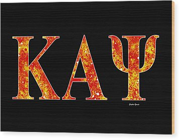 Wood Print featuring the digital art Kappa Alpha Psi - Black by Stephen Younts