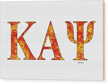 Wood Print featuring the digital art Kappa Alpha Psi - White by Stephen Younts