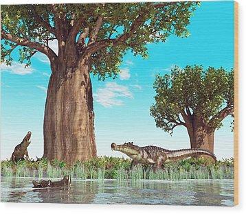 Kaprosuchus Prehistoric Crocodiles Wood Print by Walter Myers