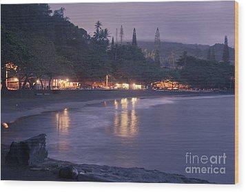 Kapueokahi - Hana Bay - Sunset Hana Maui Hawaii Wood Print by Sharon Mau