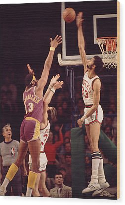 Kareem Abdul Jabbar Blocks Wilt Chamberlain Wood Print by Retro Images Archive