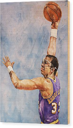 Kareem Abdul Jabbar Wood Print by Michael  Pattison