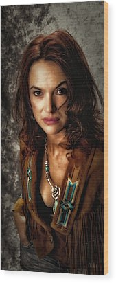 Wood Print featuring the photograph Karina - Indian Jacket ... by Chuck Caramella