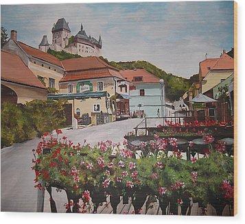 Wood Print featuring the painting Karlstejn Castle by Cherise Foster