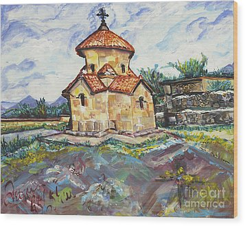 Karmravor Church Vii Century Armenia Wood Print by Helena Bebirian