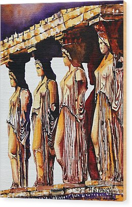 Wood Print featuring the painting Karyatides by Maria Barry