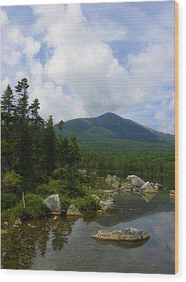 Katahdin From Sandy Stream Pond Wood Print