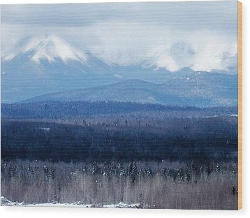Wood Print featuring the photograph Katahdin Snow by Gene Cyr