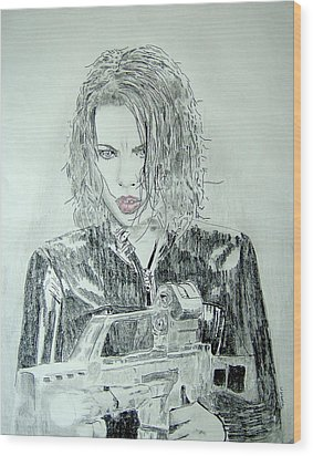 Kate Beckinsale Underworld Drawing Wood Print