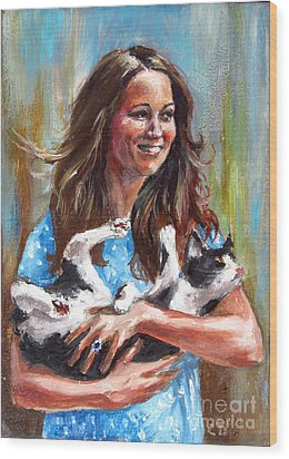 Kate Middleton Duchess Of Cambridge And Her Royal Baby Cat Wood Print by Daniel Cristian Chiriac