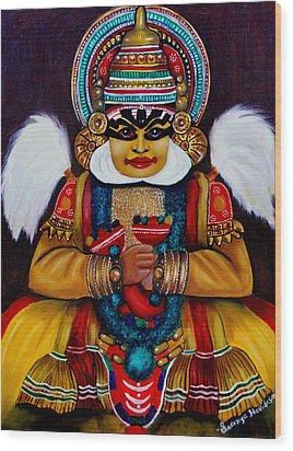 kathakali.. Lord Shiva Wood Print by Saranya Haridasan
