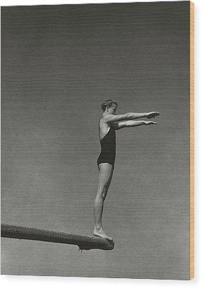 Katherine Rawls Getting Ready To Dive Wood Print by Edward Steichen
