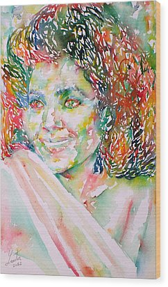 Kathleen Battle - Watercolor Portrait Wood Print by Fabrizio Cassetta
