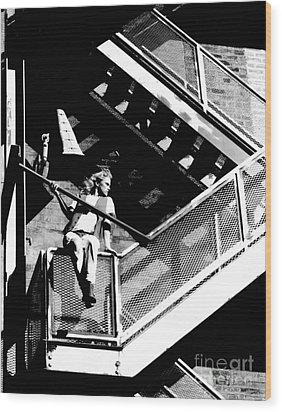 Katie-fire Escape Wood Print by Gary Gingrich Galleries