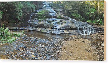Katoomba Cascades Panorama Wood Print by Terry Everson