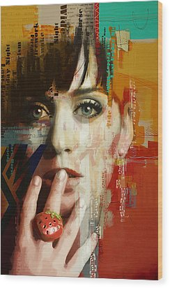 Katy Perry Wood Print by Corporate Art Task Force