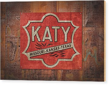 Katy Railroad Sign Dsc02853 Wood Print