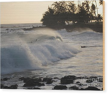Kauai - Brenecke Beach Surf Wood Print by HEVi FineArt