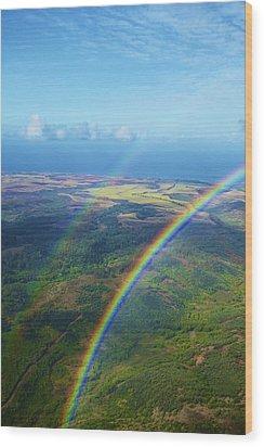 Kauai Double Rainbow Wood Print by Kicka Witte