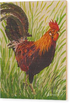 Wood Print featuring the painting Kauai Rooster by Anna Skaradzinska