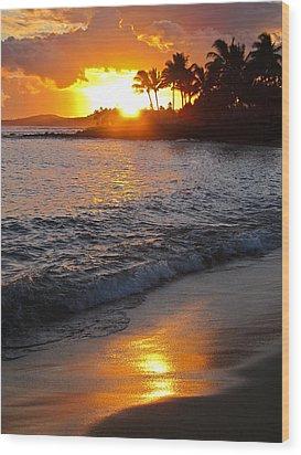 Kauai Sunset Wood Print by Shane Kelly