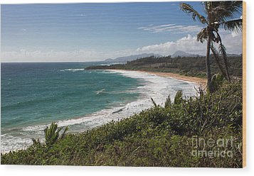 Kauai Surf Wood Print by Suzanne Luft