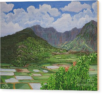 Wood Print featuring the painting Kauai Taro Fields by Chad Berglund