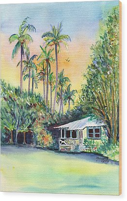 Kauai West Side Cottage Wood Print by Marionette Taboniar