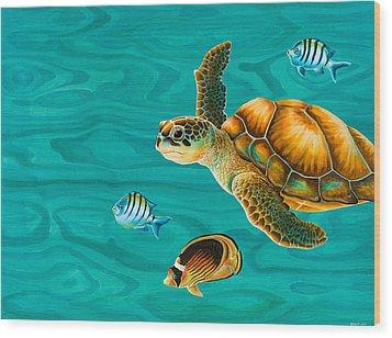 Kauila Sea Turtle Wood Print by Emily Brantley