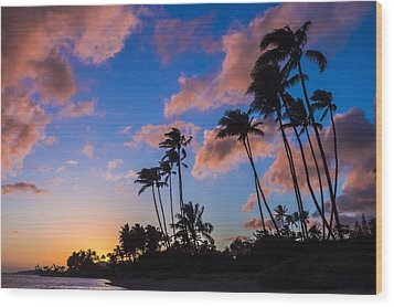 Wood Print featuring the photograph Kawakui Sunset 3 by Leigh Anne Meeks