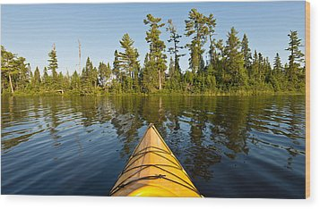 Kayak Adventure Bwca Wood Print by Steve Gadomski