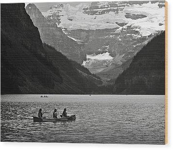Kayak On Lake Louise Wood Print