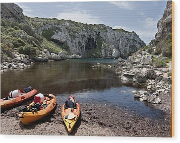 Kayak Time - The Landscape Of Cales Coves Menorca Is A Great Place For Peace And Sport Wood Print