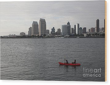 Kayaking Along The San Diego Harbor Overlooking The San Diego Skyline 5d24376 Wood Print by Wingsdomain Art and Photography