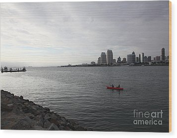 Kayaking Along The San Diego Harbor Overlooking The San Diego Skyline 5d24377 Wood Print by Wingsdomain Art and Photography