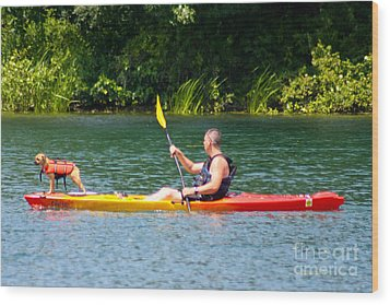 Kayaking Buddies Wood Print